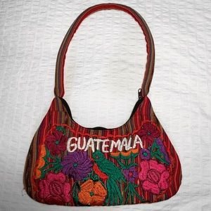 Vintage Mexican Blanket Guatemala Embroidered Bag